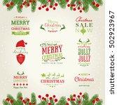 christmas lettering design set | Shutterstock .eps vector #502923967