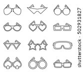 glasses icons set. sunglasses... | Shutterstock .eps vector #502931827