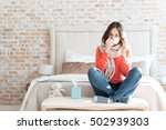pleasant gloomy woman suffering ... | Shutterstock . vector #502939303
