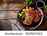 top down view on delicious meat ...   Shutterstock . vector #502967413