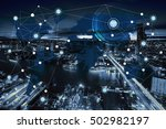 network and world map on blur... | Shutterstock . vector #502982197