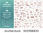 confectionery and bakery sketch ... | Shutterstock .eps vector #502988833