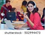 cheerful office girl enjoying... | Shutterstock . vector #502994473