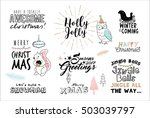 set of christmas typography and ... | Shutterstock .eps vector #503039797