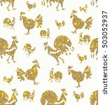 hand drawn roosters and hens.... | Shutterstock .eps vector #503052937