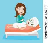 cosmetologist applying cosmetic ... | Shutterstock .eps vector #503057317