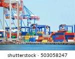 port cargo crane and container... | Shutterstock . vector #503058247
