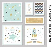 cute cards with gold confetti... | Shutterstock .eps vector #503083573