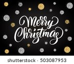 merry christmas card with hand... | Shutterstock .eps vector #503087953