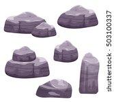cartoon purple and gray stones...