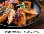 Baked Chicken Wings In Pan On...