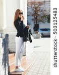 fashion beautiful girl walking... | Shutterstock . vector #503125483
