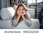 positive smiling blonde teenage ... | Shutterstock . vector #503132233