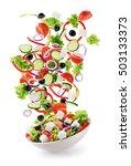flying salad ingredients... | Shutterstock . vector #503133373