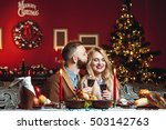 beautiful couple in a decorated ... | Shutterstock . vector #503142763