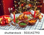 christmas dinner by candlelight ... | Shutterstock . vector #503142793