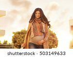 beautiful pregnant woman with... | Shutterstock . vector #503149633