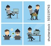 criminal russian hacker set... | Shutterstock .eps vector #503159743