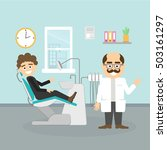 dentist with patient. smiling... | Shutterstock .eps vector #503161297