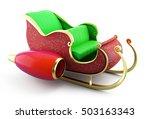 christmas santa sleigh on white ... | Shutterstock . vector #503163343