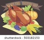 roast turkey chicken on platter ... | Shutterstock .eps vector #503182153