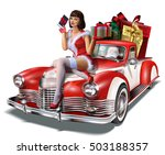 christmas pin up girl with gift ... | Shutterstock .eps vector #503188357