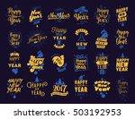 happy new year 2017 typographic ... | Shutterstock .eps vector #503192953