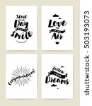 set of 4 cards or posters with... | Shutterstock .eps vector #503193073
