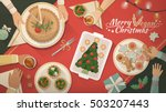 people having christmas dinner... | Shutterstock .eps vector #503207443