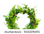 natural round wreath frame on...   Shutterstock . vector #503209693