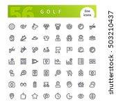set of 56 golf line icons... | Shutterstock .eps vector #503210437