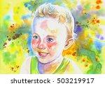 watercolor illustration on... | Shutterstock . vector #503219917
