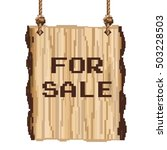 wood sign for sale. pixel art
