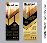 gold roll up layout template.... | Shutterstock .eps vector #503229253