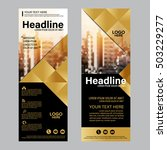 gold roll up layout template.... | Shutterstock .eps vector #503229277