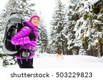 woman hiking trekking in winter ... | Shutterstock . vector #503229823