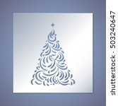 christmas tree cut out of paper.... | Shutterstock .eps vector #503240647
