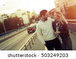 happy tourist couple in love... | Shutterstock . vector #503249203