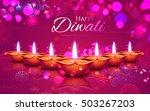 illustration of burning diya on ... | Shutterstock .eps vector #503267203