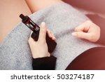 young girl vaper holding... | Shutterstock . vector #503274187