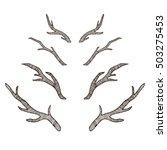 set of hand sketched deer... | Shutterstock .eps vector #503275453