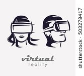 man and woman  head in vr... | Shutterstock .eps vector #503278417