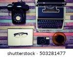 desk work retro tool | Shutterstock . vector #503281477