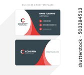 Creative and Clean Double-sided Business Card Template. Red and Black Colors. Flat Design Vector Illustration. Stationery Design | Shutterstock vector #503284513