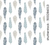 feathers doodle seamless...   Shutterstock .eps vector #503286013