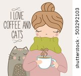 cute girl with cat drinking... | Shutterstock .eps vector #503292103