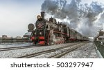soviet steam locomotive | Shutterstock . vector #503297947