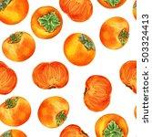 watercolor persimmon hand drawn ... | Shutterstock . vector #503324413