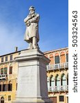 Small photo of monument Niccolo Tommaseo was italian linguist, journalist and essayist, Campo Santo Stefano in Venice