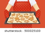 baking tray with christmas... | Shutterstock .eps vector #503325103
